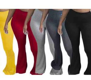 Casual Taille Plus Femmes élastique Pantalon large Flare Leg Jambières Pantalon taille haute de Bell Bottom Drapée Pantalons Jogger Sweatpants 8869