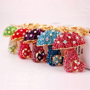 Cute Mushroom Shape Keychain Rhinestone Crystal Alloy Pendant Car Key Chain Ornament Handbag Decor Fashion Key Rings Free Shipping