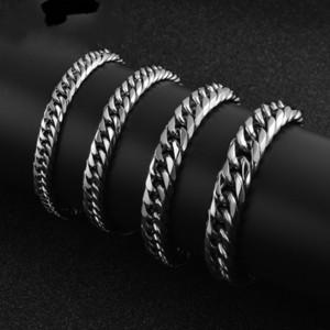 La pulsera de acero inoxidable pulido Link más para los hombres de calidad buena pulseras de cadena MAN mano cubana al por mayor cadena de joyería broche de presión