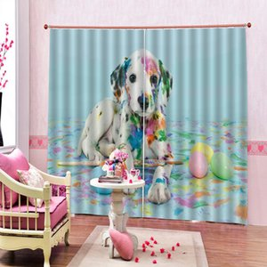 Modern Dog painting Photo Blackout Curtain For Children's room Bedroom Polyester Fabric Drapes Decor Sets (Left and Right Side)