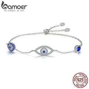 Bamoer Venta Caliente 100% 925 Plata de ley Ojos Azules Pulseras de Las Mujeres Para Las Mujeres Joyería de Plata Esterlina Regalo Scb089 J 190429