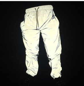 Reflective Hip Hop Men Joggers Sweatpants Men's Streetwear Night Light Shiny Blink Long Pants For Couples SH190816