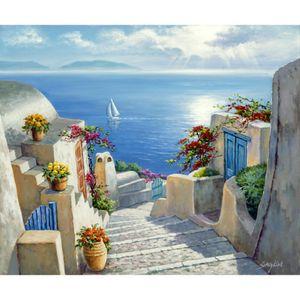 Paisaje mediterráneo Romántico Pinturas al óleo Camino a Hidra lienzo pintado a mano arte de alta calidad