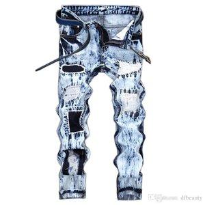 Nouvelle arrivée Light Blue Denim Homme droit Jean Ripped Pants broderie trou Patch Vintage Homme Pantalons Pantalons gros