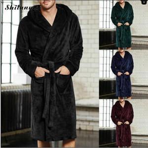 2018 Nouvel Hiver Hommes De Luxe Peignoir Mens Chaud Soie Flanelle Long Kimono Robe De Bain Robe Vêtements Vêtements Mâle Nuit Dressing Robe Peignoirs