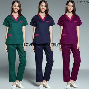 2020 Color Blocking Scrubs Short Sleeve Scrub Top Side Vent Scrub Pants for Women Bog Pockets Cottonl Uniforms