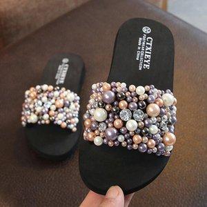 Fashion New Summer Children Cartoon flip flops Shoes Boys And Girls Slippers sandals Beaded pearl Slippers Beach girls sandals b T200703