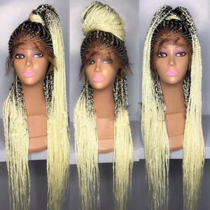 Moda Ombre Negro a Rubio Nueva trenzado sin cola sintética del pelo del frente del cordón pelucas con el pelo del bebé de calor resistente caja de trenzas pelucas para las mujeres