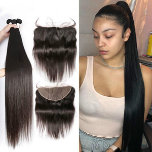3pcs set Brazilian Straight Hair 3 Bundles Pre Preplucked With Lace Frontal Closure 13X4 Free Part 100% Human Remy Hair