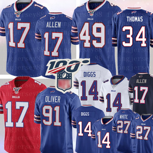 17 Buffalo Josh Allen Bill Jersey 34 Thurman Thomas 14 Stefon Diggs 49 Tremaine Edmunds 91 Oliver 27 Tre'Davious Weiß Jim Kelly Football