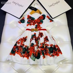 Perakende 2020 Kız Vintage çiçek elbiseler Çocuklar baskılı Prenses elbise Bahar Moda çiçek çocuk giyimi