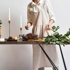 Été Japan Style Femmes Coton Lin Pinafore Place Croix Tablier de jardin travail Robe chasuble