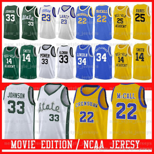 Michigan State Spartans # 33 Earvin Johnson PODER MEMORIAL LEW Alcindor Bel-Air Academy Filme Jersey Lincoln PODER MEMORIAL LEW Alcindor Z8