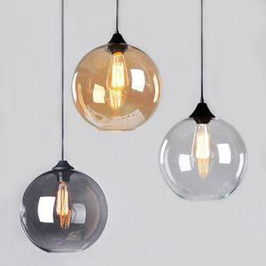 Retro Vintage industriale fumo tonalità di vetro Loft Pendant Light Cafe Lampada a sospensione per salone Dinning Room PA0203