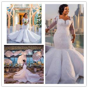 남아프리카 인어 웨딩 드레스 레이스 아플리케 플러스 사이즈 깎아 지른 긴 소매 신부 가운 새틴 스윕 기차 결혼식 vestidos