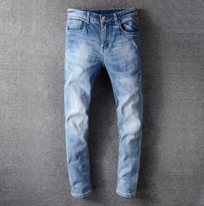 New Street Tide Medusa brand VJ Jeans Classic blue men's Stretch ripped jeans Leisure Denim pants high quality