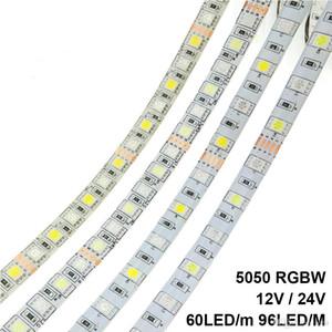 Светодиодные ленты 5050 RGBW DC 12V / 24V Гибкая светодиодная RGB + белый / RGB + теплый белый 60 LED / м 96 LED / м 5 м / серия