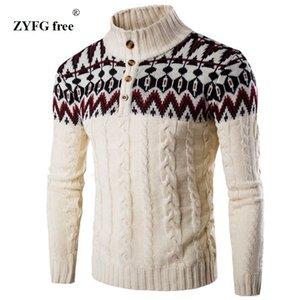 ZYFG libre de invierno caliente grueso suéter de cachemira hombres de pie cuello para hombre Slim Fit suéteres Pullover Hombres camiseta clásica de lana Prendas de punto Tire Homme MX191214