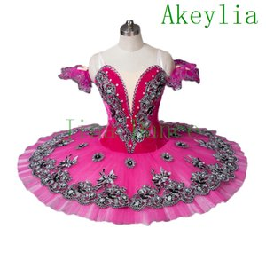 Escuro veludo rosa Mulheres Flower Fairy Professional Tutu verde Costume Pancake Classical azul prato Tutu subiu meninas e mulheres vermelhas
