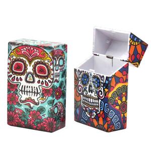 Caixas de cigarro Rolamentos bolso fumadores cabeça do crânio Caixa de armazenamento de plástico automática projeta presentes Impresso Cigar Container promoção para 10yha E1