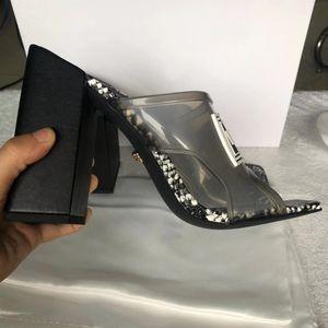chaussures réelles grande taille 42 43 femmes sandales designer chaussures glissent la mode estivale larges talons hauts slippery sandales en PVC pantoufles avec boX