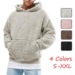 Nouveau mode chaud d'hiver d'homme Ours en peluche de couleur solide de poche Sweat à capuche Hauts Pull Polaire Sweats à capuche