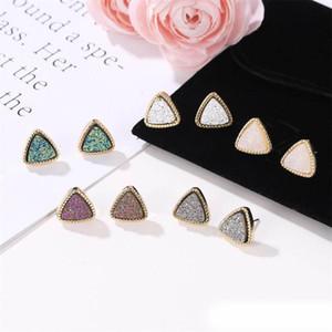 Кендра Стиль Druzy Drusy Скотт серьги ожерелье позолоченный смолы Круглый треугольник Earings для женщин дизайнер ювелирных изделий Gold Stud