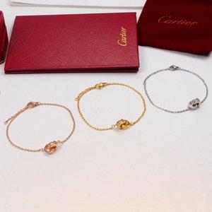 Moda de diamante completoPulsera de oro Cartier anillo doble de titanio pulsera de acero chapado en oro de 18K Rose con la caja original NO A7