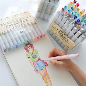 12/24 Renkler Çift İpuçları Suluboya Fırça Marker Kalem Seti Boyama Kitapları Çizim için Fineliner ile İpucu Vurgulama