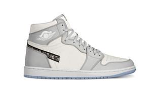 2020 Dior x Air Jordan 1 High OG ollaborazione anniversario ufficialmente rivelato Grigio Bianco francese etichetta di moda stile di Kim Jones Sneaker size36-45 scarpa