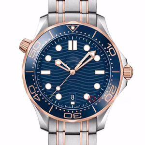 Mens mechanische automatische Uhren Rose Gold Edelstahl-Gummibügel-Designer-Uhr Professional Diver 300M Master-NATO-Armbanduhr