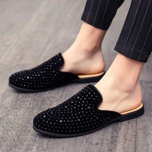 Com metade chinelos Baotou verão há sapatos de salto dos homens masculinos pequenos pessoas não preguiçosos na Inglaterra seguido por Doug sapatos, sapatos de lazer