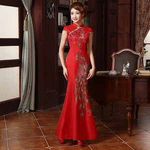 New Dress Bride Cheongsam High-end Cor Diamond Phoenix Chinês Bordado Cheongsam Atacado