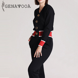 Genayooa elegant Herbst 2019 Knit Anzug Frauen beiläufige gestrickte Zweiteiler Top und Hose 2 Stück-Set Female Korean