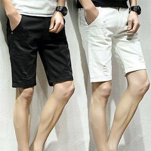 Neue Männer Slim Fit Stretch Jeans-Shorts im Used-Jeans-flache Frontseite halbe Hosen Stretch dünne dünne Distressed Ripped Reparatur Shorts