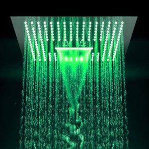 3 Funktion Big Waterfall Rainfall Showerheads 16-Zoll-LED-Regenbadezimmer-Duschkabinen, die Duschköpfe mit eingebauter Deckenmontage polieren