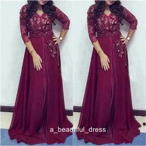 Burgundy Lace Chiffon Prom vestiti convenzionali con maniche modesto rilievo di cristallo Dubai arabo Plus Size Occasione Evening Wear abiti ED1161