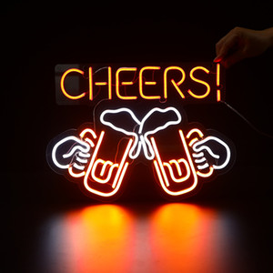 custom neon sign Cheers LED Flex Neon Bar and Beer Sign Shop Beer Bar Pub Man Cave Business Glass Neon Lamp Light