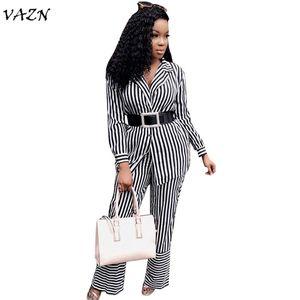 VAZN 2018 новых прибывающим кнопка сексуальный v-образным вырезом Комбинезоны женщин полосатые полный рукав 2-х частей Комбинезоны дамы поясами MZ8151