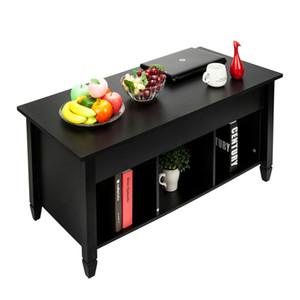 رفع طاولة القهوة أقدام الخشب الصلب مع مساحة التخزين الرئيسية الحديثة العملي طاولة القهوة الأثاث الأسود