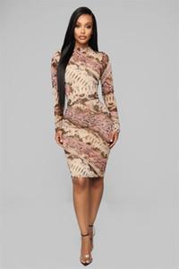 Snakeskin der Frauen beiläufige Kleider Mode Panelled Rundhalsausschnitt Langarm Womens Bodycon Kleider beiläufige Frauen Kleidung