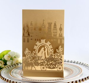 3D Wedding Invitations Card Laser Cut Invites Cards Bride And Groom Castle Greeting Party Decor Supplies