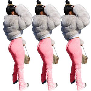 jambières empilées joggeurs empilés de survêtement femmes femmes froncées pantalons de jambe jogging féminin pantalon femme pantalon de sueur