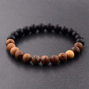 8mm New Natural Wood Beads Bracelets Men Black White Bracelet Women Prayer Jewelry Bracelet 2020