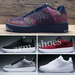 Nike Air Force 1 AF1 Flyknit 2019 뜨거운 판매 새로운 고전 모든 화이트 블랙 하이 컷 남성 여성 스포츠 운동화 캐주얼 신발 하나 개의 실행 신발 크기 36-45 Z01