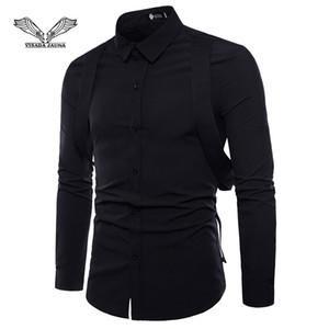 VISADA JAUNA Slim-Fit Cor Sólida Correias dos homens Decorados Com Elegante Longo-Sleeved Camisas Tamanho M-2XL TLH63