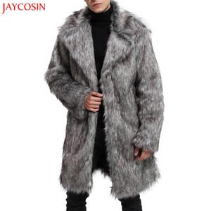 JAYCOSIN 1 ADET Mens moda Ceket M-2XL Kış Sıcak Kalın Ceket Overout Ceket Faux Kürk Parka kalın Dış Giyim Gri Hırka z1122