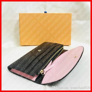 EMILIE WALLET Designer Fashion Women's Long Button Wallet Brand Key Card Holder Zippy Purse Pouch Brown Damier Canvas Box Dust Bag M61289