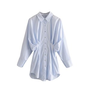 Solid Casual Blouse For Women Fashion Batwing Long Sleeve Pleated Shirts Loose Turn Down Collar Office Blouses Top 2020