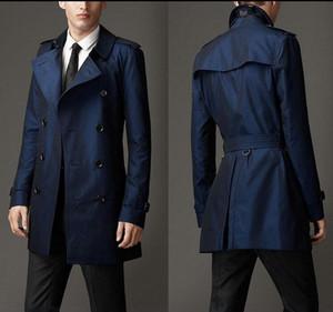 Primavera outono trench coat homens projeto comercial double breasted casaco longo homens preto cáqui azul jaqueta masculino plus size S-9XL